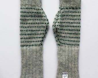 Grey and Forest Green Lambswool Fingerless Gloves