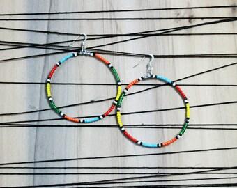 Masai Inspired Beaded Multi-Color Tribal Hoop Earrings