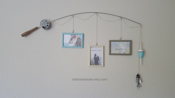 Fishing Pole Picture Frame - Silver Pole - 3 - 4 in x 6 in Picture Frames - Spa Blue, Bleached Sand, Chalk Grey