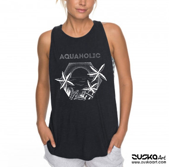 Aquaholic | Women Sexy and Flowy Muscle Tank Top | Beach wear | Tropical Palm trees | Surfing shirt | Fitness, jogging, gym, yoga | ZuskaArt