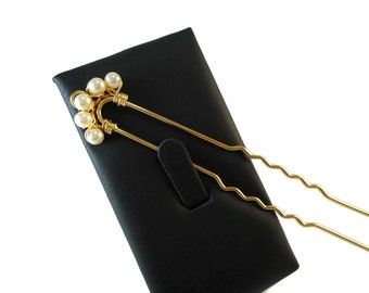 Swarovski Crystal Cream Pearl Hair Accessory, Off White Bridal Hair Pins Gold or Silver Design, Formal Updo Hair Accessories for Prom