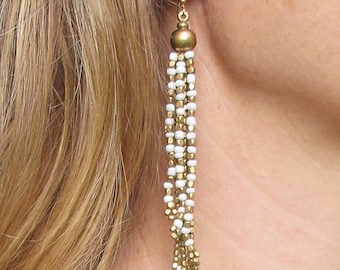 Beaded Tassel Earrings, Boho Earrings for Wife