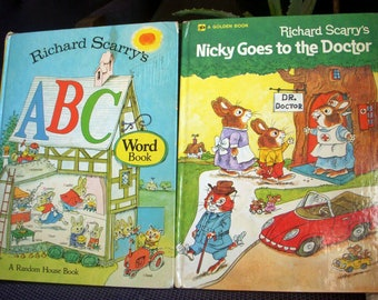 Two Richard Scarry Books 1970's, Oversized Hardcovers, Vintage Childrens Picture Books, ABC Word Book, and Nicky Goes to the Doctor