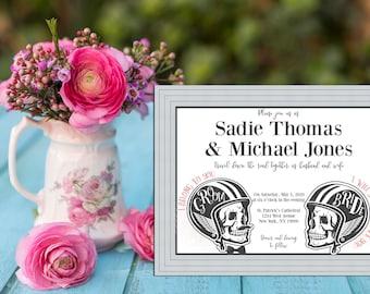 Skeleton Bikers Wedding Collection / Motorcycle Wedding / Halloween Wedding Skull Invitation PRINTABLE / DIY