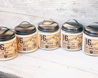 rustic jar candle, unique candle scent, hand poured jar candles, free shipping, unique soy candle, unique candle gift, hygge, scented candle
