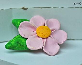 Flower Brooch, Polymer Clay Brooch, Pink, Green, Polymer Clay Pin, Pink Wild Rose Brooch, Flower Jewelry, Pink Brooch, Pink Flower Brooch
