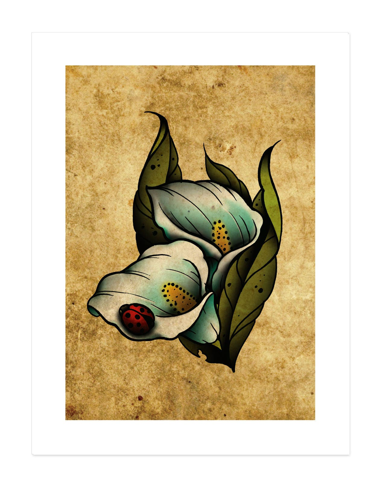 Calla lilies flowers lady bug neo traditional tattoo flash zoom izmirmasajfo Gallery