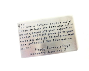 Fathers Day Gift, Wallet Insert Card, 10 Year Anniversary, Gift For Men, For His Wallet, Personalized