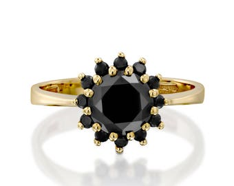 Black diamond ring, black halo ring, black diamond engagement ring, diana diamond ring, prong ring, gold ring, diamond ring, gift for her