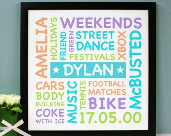 Personalised Colourful Typographic Art
