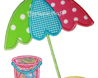459 Beach Umbrella Machine Embroidery Applique Design