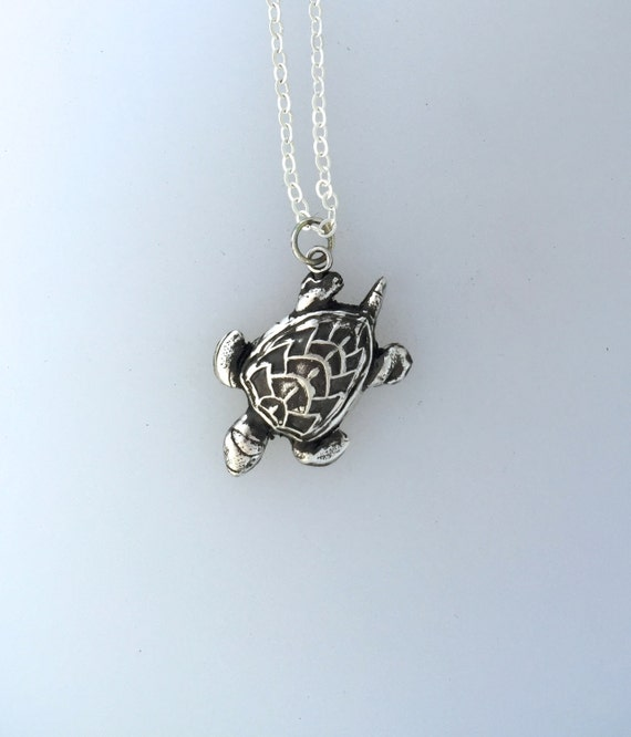 Happy Sea Turtle Metal Clay Necklace-Vegan Necklace-Vegan Gift-Metal Clay Jewelry-Sea Life-Save the Turtles