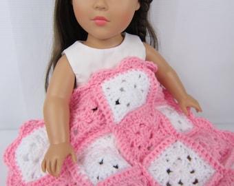 "Crochet Doll Blanket, 18"" Doll Blanket, 15"" Doll Blanket, Pink and White Doll Blanket, Handmade granny square doll blanket, doll bedding"
