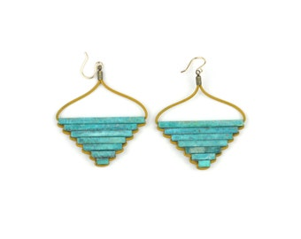 Teocalli Large Pyramid Earrings - Green Patina