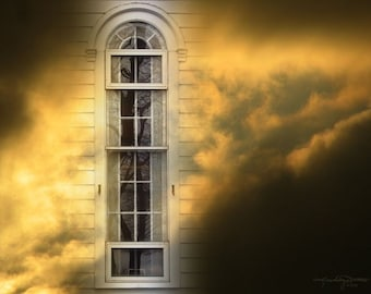 Window to the Sky - Arched Church Window in Golden Clouds