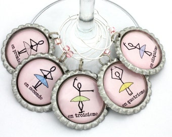 Wine charms with ballet positions pink ballet party favors tutu drink tags wine accessories