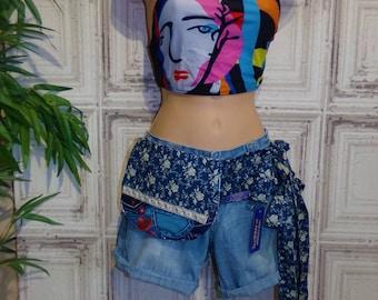 Adjustable  bum bag blue cotton prints