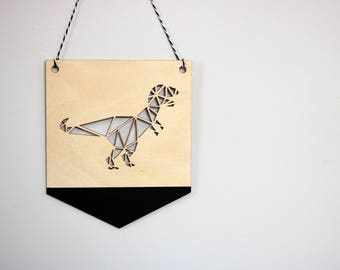 Geometric T-REX Dinosaur Pennant ©, Dinosaur Flag Bunting, Wall Hanging, Scandi, Monochrome Nursery Decor