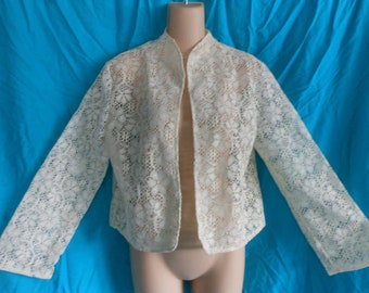 VTG 60s 70s L Cream Ivory Floral Sheer Lace Crop Cropped Bolero Shrug Top Jacket Cardigan Rockabilly Pin-up 50s Retro