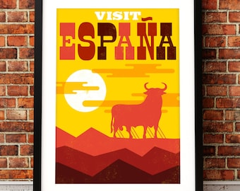 Spain travel print, Spain art print, Spain inspired print, typographic print, travel poster, typographic art, Spain poster art