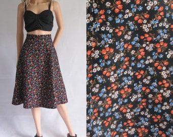 Noir jupe patineuse vintage fleuri, coton, une ligne, français, jupe au genou, taille moyenne, petite 27,5