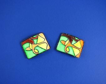 Rare MOD Pair of Enameled  MUSI Shoe Clips /Buckles