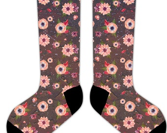 s07 - Coral and BROWN RETRO FLOWERS  - 11' Crew or Ankle Socks