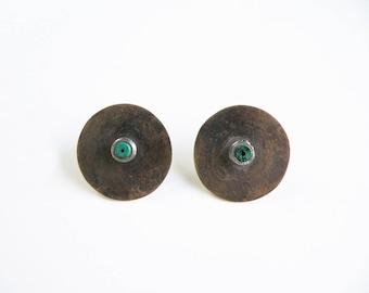 brass earrings  with chrysocolla, stud bronze earrings, round stud earrings, mixed metal earrings, artisan jewelry, chrysocolla earrings
