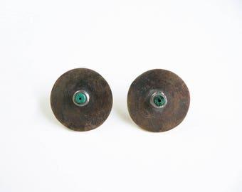 disc earrings, stud earrings, geometric earrings, stud minimal, mixed metal earrings, artisan jewelry, stud bronze, chrysocolla earrings