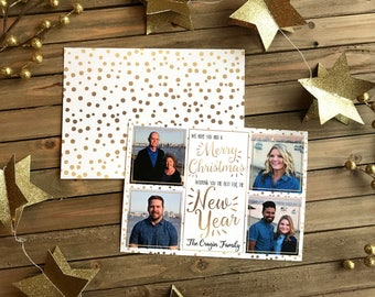 Digital Holiday Card - Customizable - Photo New Years Card - Gold New Years
