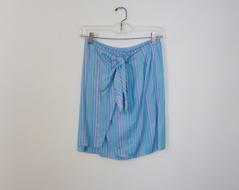 Vintage Blue Striped Leslie Fay Wrap MiniSkirt