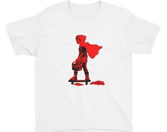 Red Riding Hood on a Skateboard by Billy Lilly Youth Short Sleeve T-Shirt