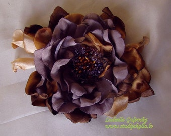 Handmade golden violet-gray satin flower brooch, flower clip & pin