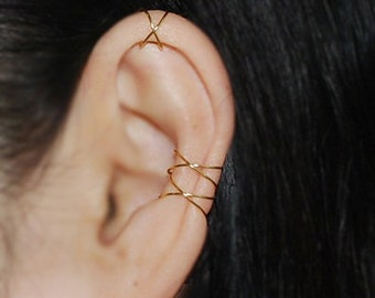 Ear cuff,Cartilage Earrings,Criss Cross,Boho,Fake Conch piercing,Earcuff,Ear Jacket,Christmas,Holiday,Best Selling,Trending Item