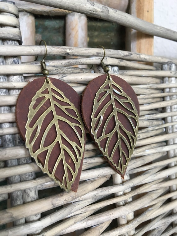 Boho Leather Leaf Teardrop Earrings Earthy Bohemian Dangle in Deep Brown Leather with Antique Bronze Leaf Gift for Her - Statement Earrings