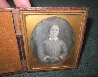 Antique Circa 1850 Daguerreotype of Beautiful Woman in Original Case