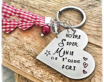 Hand Stamped Personalised French Mamie Keyring, Heart Keyring French Mamie