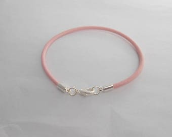 Bracelet pink leather European style with clasp 20 cm. (9272882)