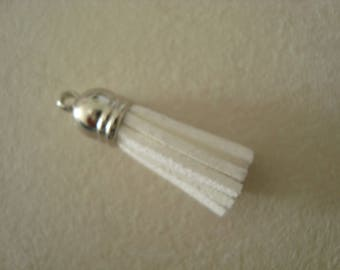 Tassel charm suede 36mm white color