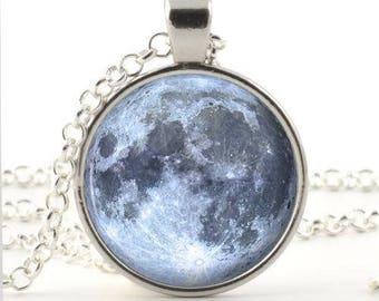 Blue moon necklace picture pendant necklace