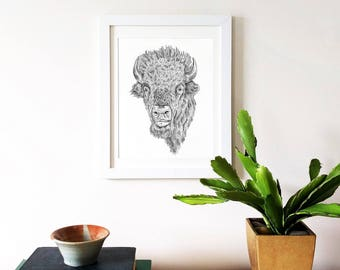 Buffalo Art, Bison Art, Animal Wall Art, Bison Art Print, Buffalo Artwork, Buffalo Print, Bison Print, Buffalo Decor, Bison Wall Decor