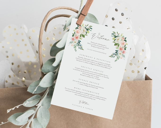 Featured listing image: Editable Template - Instant Download Spring Romance Wedding Weekend Welcome Itinerary