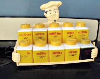 Dapol Happy Chef spice rack - Mid century - Yellow - Two tiers - Rare - 1950s