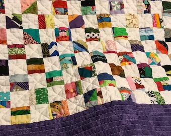 Quilt Scrap patchwork quilt Lap child's kids baby couch sofa throw blanket rainbow of colors Every scrap of my life #3