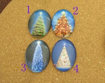 Christmas Trees,Oval Photo Glass Cabochons,Custom size-10×14mm,13×18mm,18×25mm,20×30mm,22×30mm,30×40mm-bo11