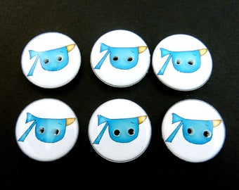 "6 blue  Bird Buttons.  Primitive or Folk Art Bird Buttons.  3/4"" = 20 mm"