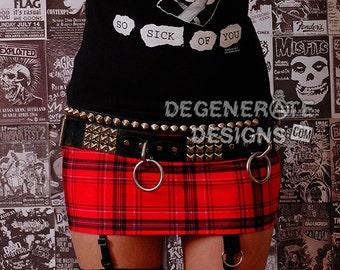 Red Plaid PUNK Skirt Street Punk Rock Clothing Punx Mini Skirt Streetwear Clubwear Alternative XS-XXL