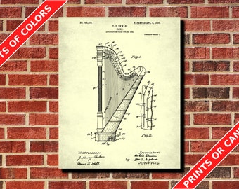 Harp Patent Print, Harp Blueprint Musician Gift Music Room Decor Musical Instruments Poster Orchestra Poster Living Room Decor