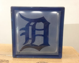 Detroit tigers glass block