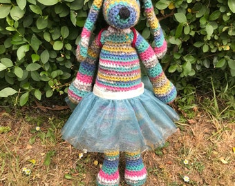 Crochet Bunny/Crochet Rabbit/Plush Bunny/Plush Rabbit/Colourful Bunny Rabbit/Nursery Decor